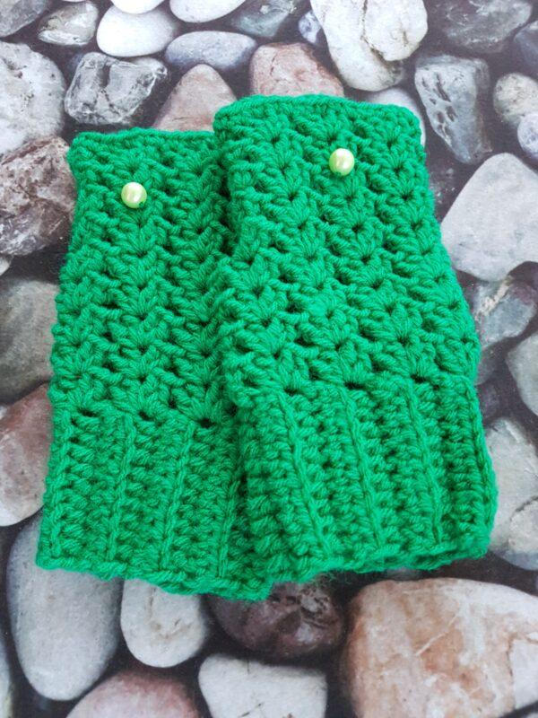 Green Fingerless Mittens