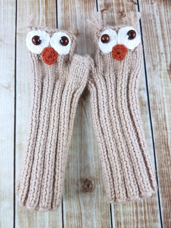 I Love Owls Fingerless Mittens