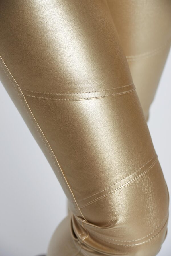 Gold Trousers Casual With Metallic Aspect With Medium Waist