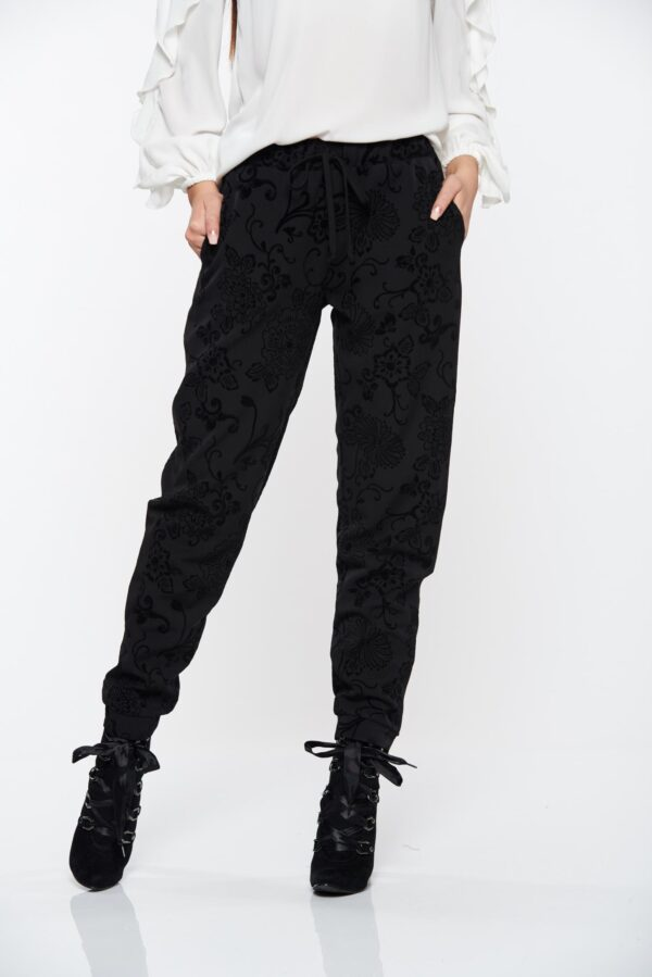 Black Trousers Conical With Pockets And Elastic Waist