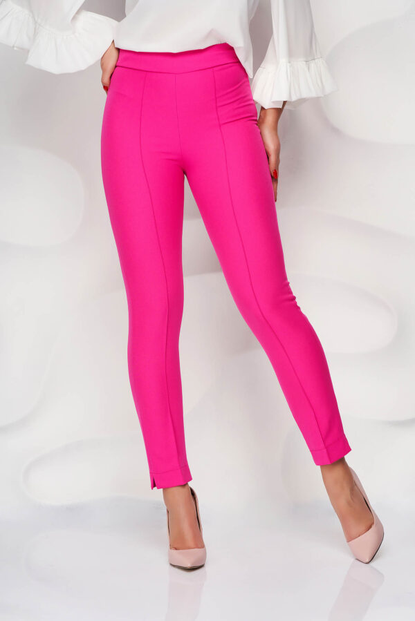 Fuchsia Trousers Office High Waisted Slightly Elastic Fabric Conical