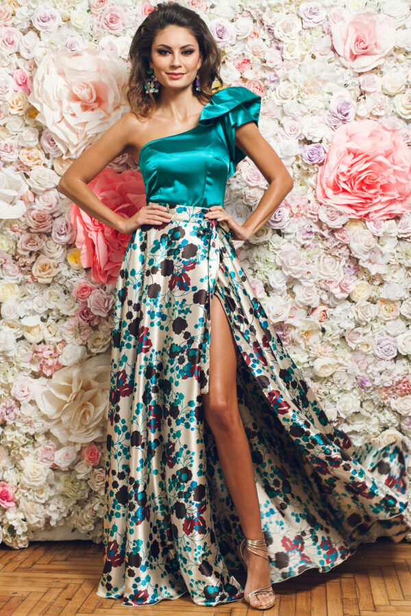 Cream Elegant Long Skirt With Satin Fabric Texture