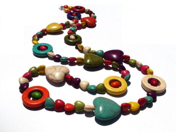 Coloured Howlite Hearts Necklace / Bracelet