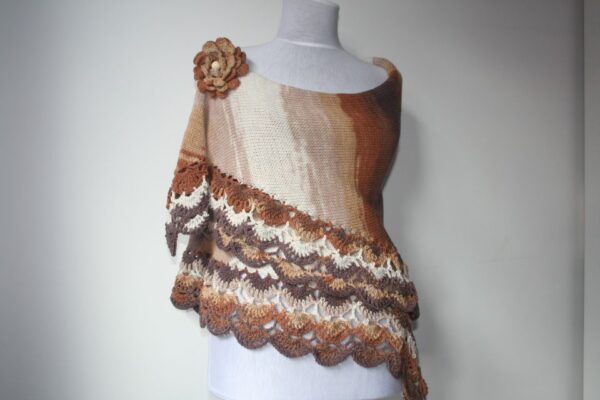 Brown Degrade  Knitted Crocheted Shawl