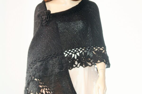 Black Knitted And Crocheted Shawl