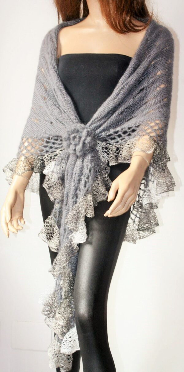 Gray Knitted And Crocheted Shawl