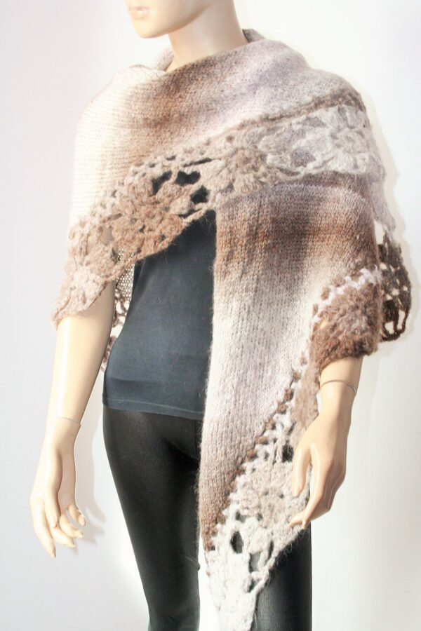 Brown Nuances Knitted And Crocheted Shawl
