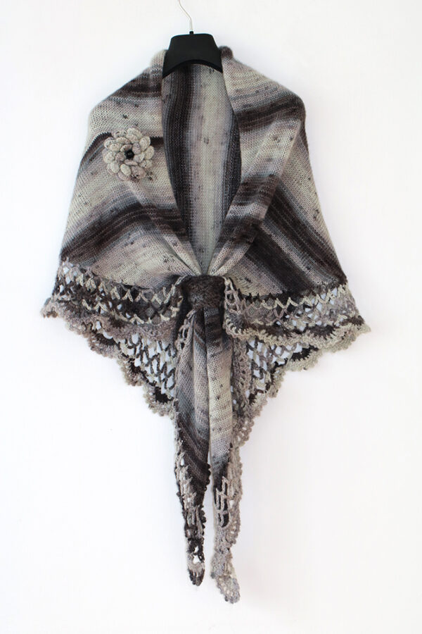 Gray Nuances Knitted And Crocheted Shawl