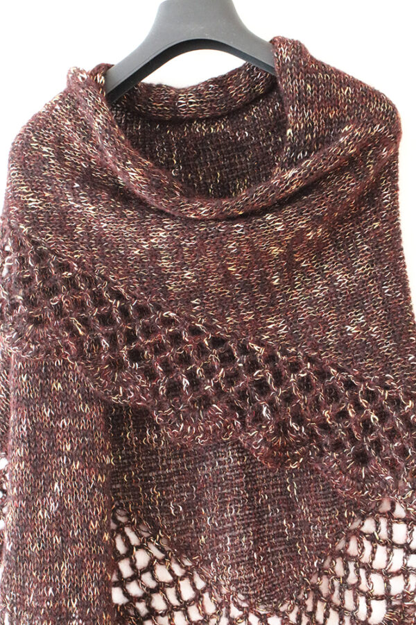 Glitter Brown Knitted And Crocheted Shawl