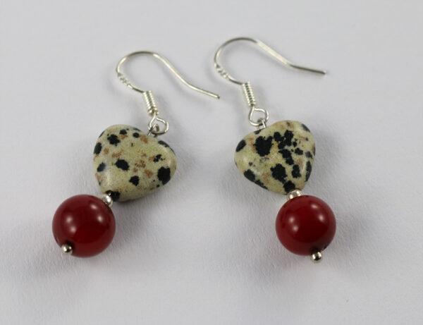 Dalmatian Jasper- Red Coral - Hematite Set